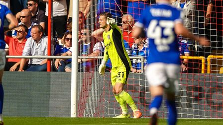Ipswich keeper Vaclav Hladky in goal at Lincoln.