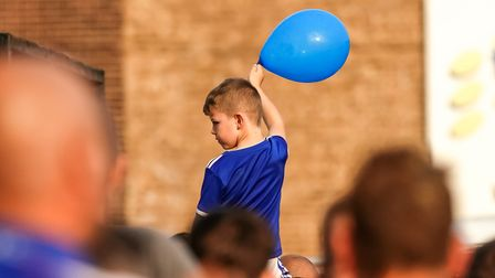 A young Ipswich Town fan, pictured before the game
