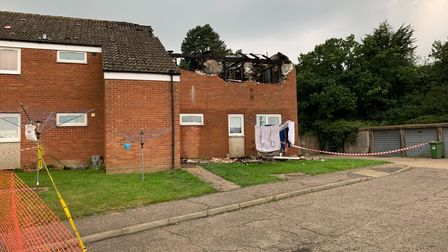 Aftermath of blaze at house on Green Lane estate at Pudding Norton.