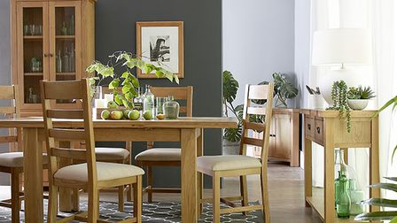Norfolk Oak dining table and chairs from Aldiss