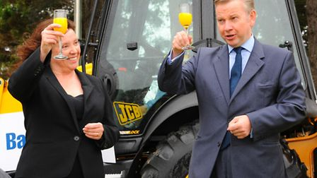 Then education secretary Michael Gove performing the official cutting of the first sod on the site o