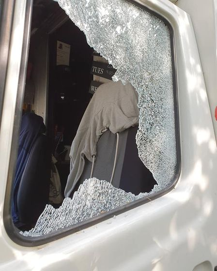 The window was smashed in at some point on Saturday evening