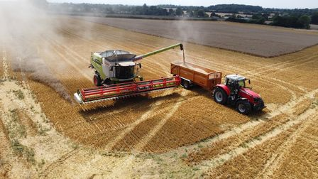 Claas Lexion 770TT combine completing the 2021 harvest at Great Ashfield.