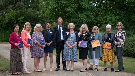 Anthony Horowitz MBE, presented the long service awards to volunteers from Home- Start in Suffolk.
