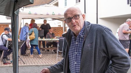 Man making a coffee for Macmillan coffee fundraiser, Great Dunmow, Essex, September 2021