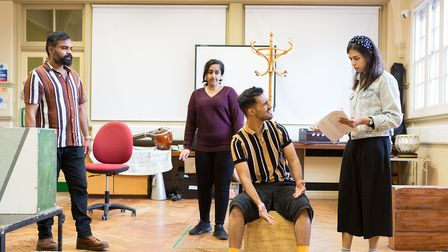 Three actors part of Eastern Angles theatre group rehearsing for their new play to be staged this autumn