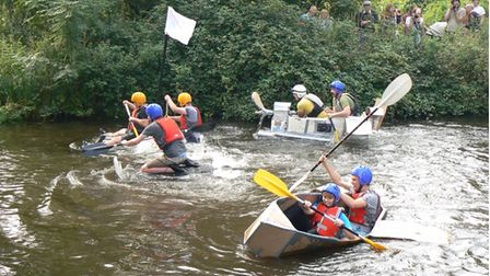 The Active Fakenham cardboard raft races saw people taken to the Wensum to be crowned the winner