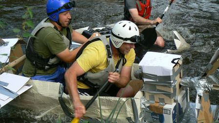 The cardboard raft race saw a range of creations grace the River Wensum.