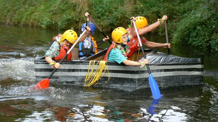 The crew of the Pewer, which was the winner of the Active Fakenham cardboard river races.