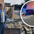 MP Paul Bristow inspects the damage caused by suspected drink driver in Peterborough.