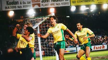 Malcolm Allen scored twice in Norwich City's 3-1 win over West Ham in their FA Cup quarter final rep