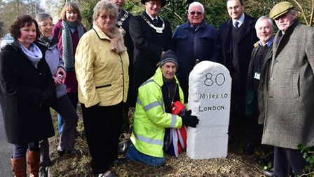An old Milestone discovered buried in Thetford during building work has been restored by Nigel Ford