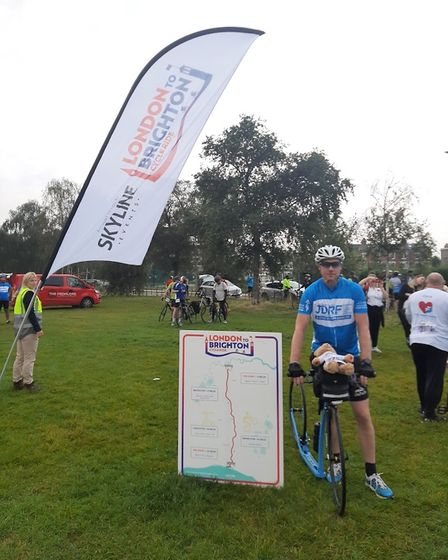 David Bird from Fakenham, before he set off on his 55-mile journey from London to Brighton.