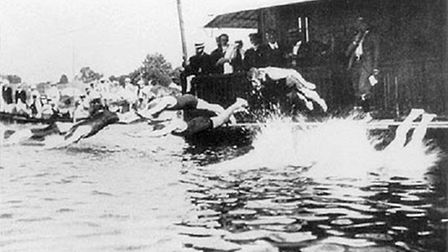 Swimmers in the River Seine at the 1900 Paris Olympics