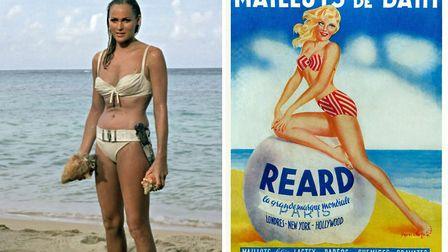 Ursula Andress in the famous bikini scene (left) © AURIMAGES and an original advertising poster for
