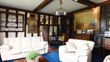 Large living room in this former Suffolk manor house for sale in Boulge, near Woodbridge, for £1.65m