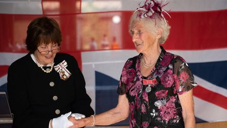 HM Lord Lieutenant of Suffolk's investiture ceremony at Bruisyard Hall. Pearl May Brunning receiving