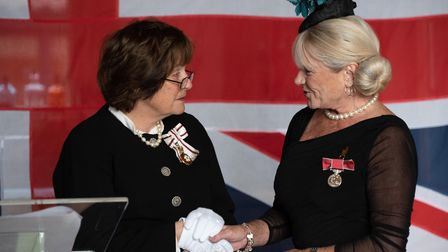 HM Lord Lieutenant of Suffolk's investiture ceremony at Bruisyard Hall. Doreen Peggy Twitchett for s