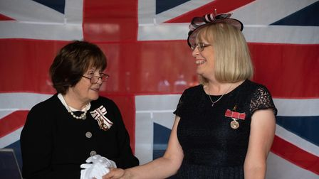 HM Lord Lieutenant of Suffolk's investiture ceremony at Bruisyard Hall. Christine Elizabeth Shand re