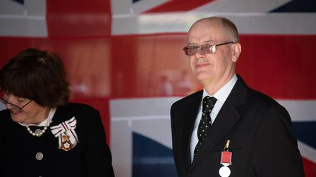 HM Lord Lieutenant of Suffolk's investiture ceremony at Bruisyard Hall. Stephen Christopher Gee, Bi