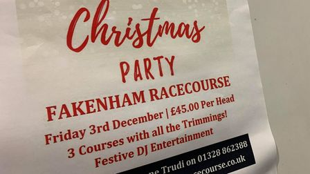 Bookings for Christmas at Fakenham Racecourse have been coming in for a number of weeks.