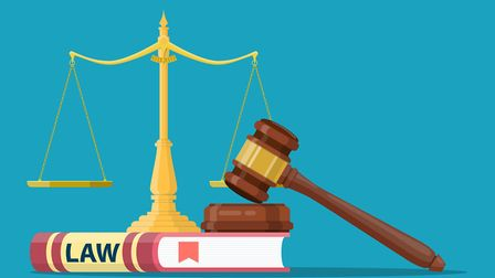Judge wooden gavel with law book and golden scales. Justice concept. Legal law and auction symbol. V