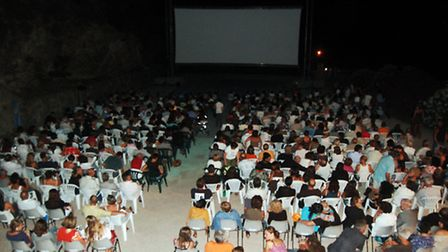 Movie buffs at the open-air cinema in Lama
