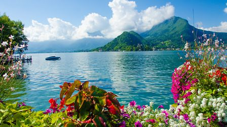 Flowers carpet the tranquil waters of Lake Annecy Thinkstock