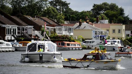 The Horning Water Carnival return to the Broads after a 10 year break with decorated boats taking to