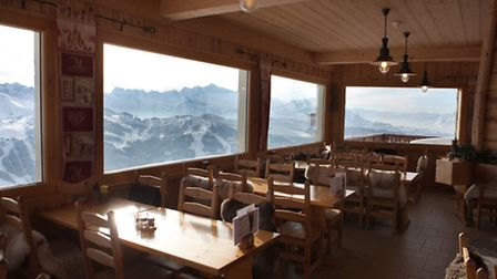 The dining room has spectacular views of Mont Blanc
