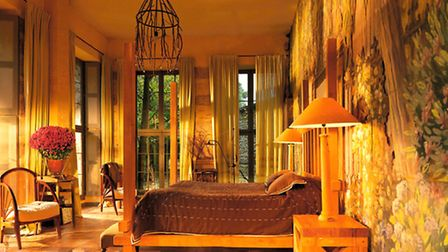 Inside one of the stylish rooms in Château de Saint-Paterne