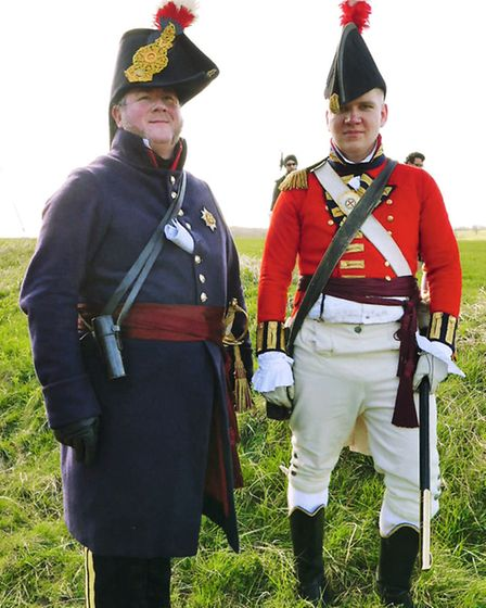 Mike Haynes, who will command the British forces at Waterloo, is pictured with his aide-de-camp Tino