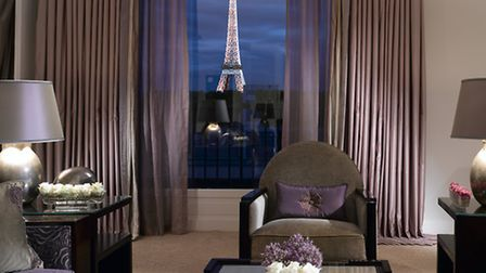 Enjoy a breathtaking view of the Eiffel Tower at the Hotel Plaza Athénée