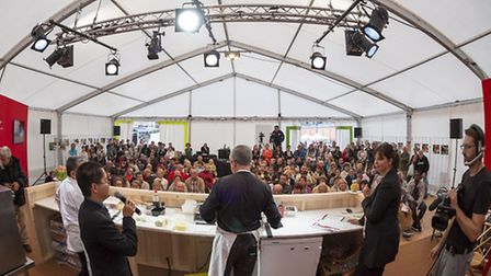 A cooking demonstration at the Limoges roadshow