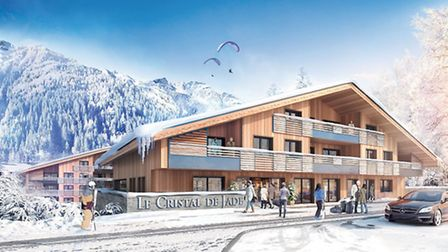 This computer-generated image shows how Le Cristal de Jade, MGM's new résidence in Chamonix, will lo