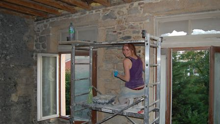 Laura hard at work on the renovation