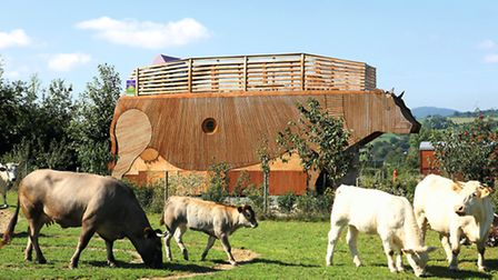 The cow-shaped eco-lodge fits right in among the herd of other cows
