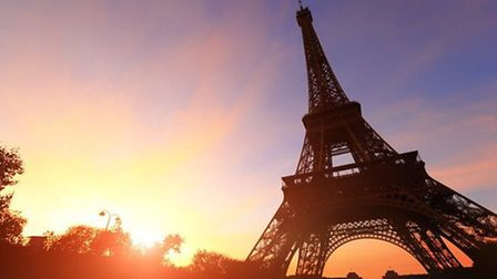The beautiful silhouette of Eiffel Tower