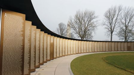 Names of the Fallen are inscribed on gold-coloured steel panels