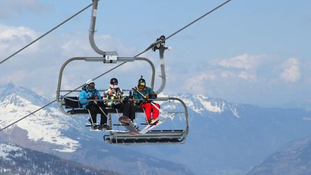 A ski lift transports eager skiers in the village of Avoriaz © Dreamstime