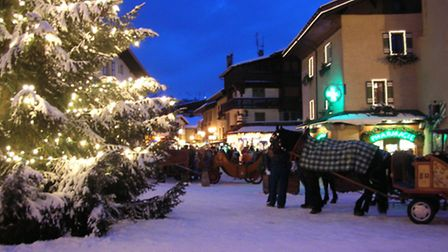 The centre of Megeve at nightfall