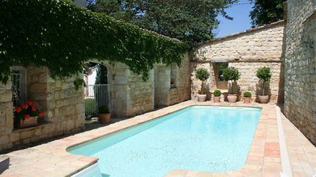 The walled pool area