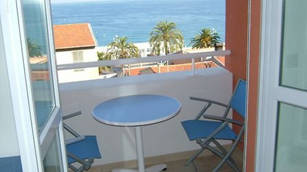 The stunning sea view from the balcony of Malcolm's apartment, which is now for sale (see details be