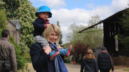 Carolyn and Caspar have fun on the farm in Normandy