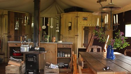 The tent's kitchen and dining area