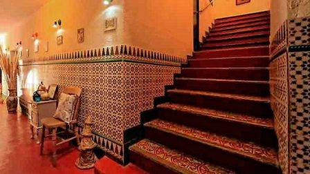 The Moroccan tiled hall at Maison de l'Orb