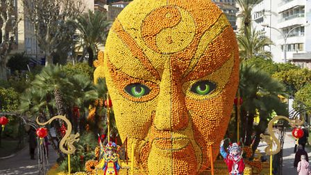 One of the stunning floats made entirely from lemons at the Fête du Citron in Menton © Anna Breitenb