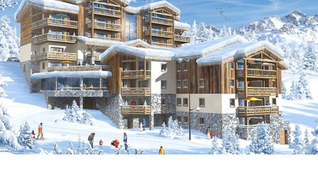 A computer-generated image of MGMs new ski-in, ski-out résidence Lodge Hemera
