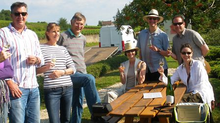 David Hammond and his guests raise thier glasses to Burgundy