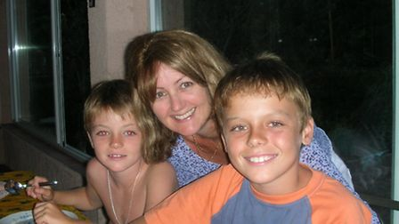 Christine Prévost and her two sons in 2005